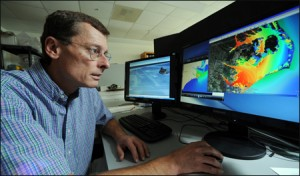 Dr. Rick Luettich uses the Coastal Emergency Risks Assessment website to display ADCIRC storm surge model results.