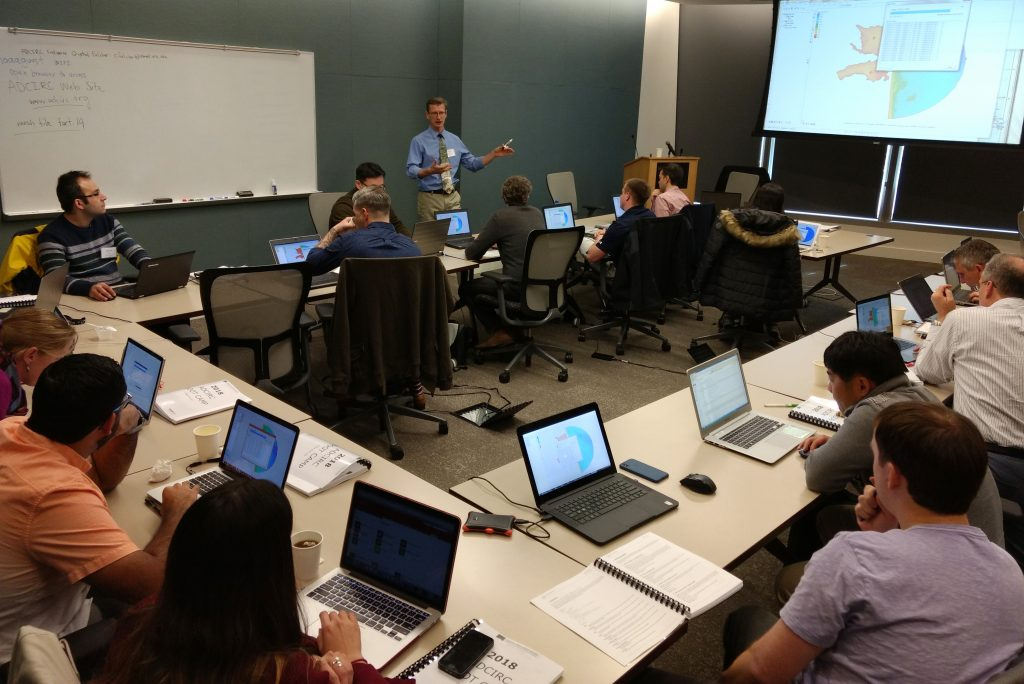 Dr. Jason Fleming leads a session at the ADCIRC Boot Camp during the 2018 ADCIRC Week. Photo by Taylor Asher