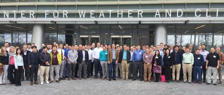 ADCIRC Week 2018 attendees pose in front of the National Oceanic and Atmospheric Administration (NOAA) Center for Weather and Climate Prediction in College Park, Md. Photo by Jian Kuang.