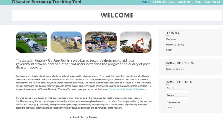 Researchers hope that 250 communities will use the Disaster Recovery Tracking Tool to track their recovery.