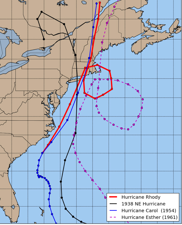 The hypothetical Hurricane Rhody, shown in red.