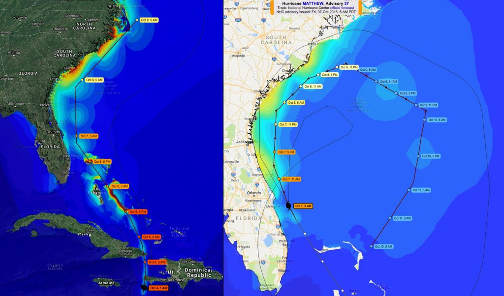 ADCIRC projections for storm surge locations and impact from Hurricane Matthew, as seen on these images from the CERA website, changed dramatically between Oct. 4 (left) and Oct. 7 (right).