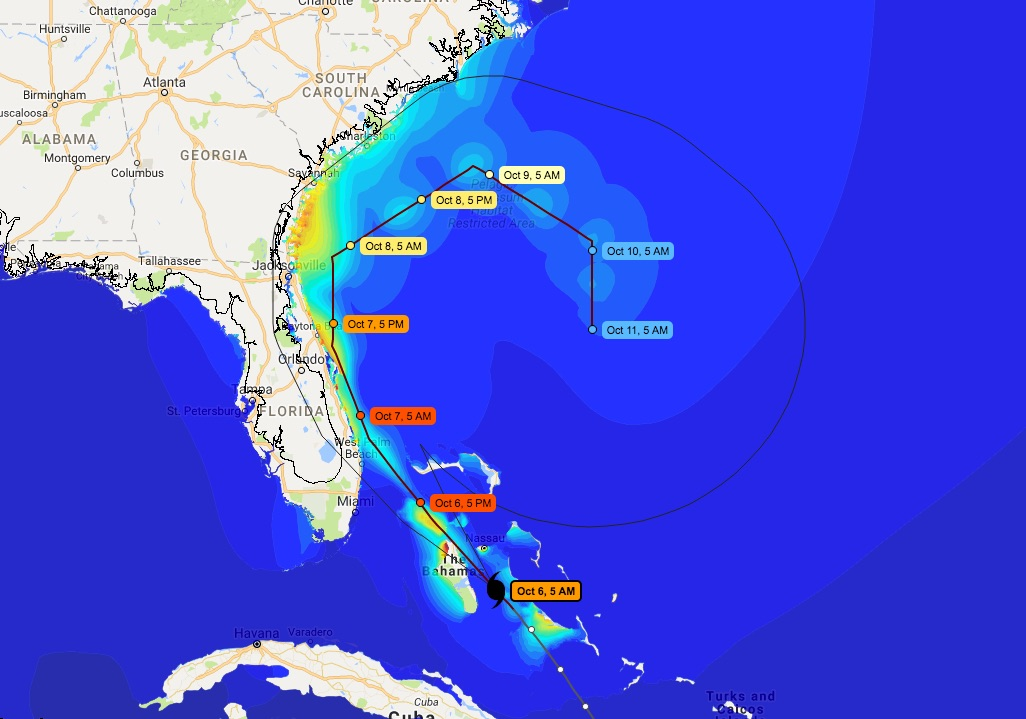 The CERA website shows Matthew's projected storm path and surge on Oct. 6, 2016, as the storm made its way up the East Coast.