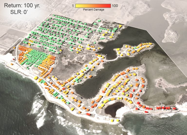 A visualization tool shows the threats to individual properties in a residential area in Rhode Island caused by potential sea-level rise Illustration by Dr. Peter Stempel and Dr. Austin Becker.