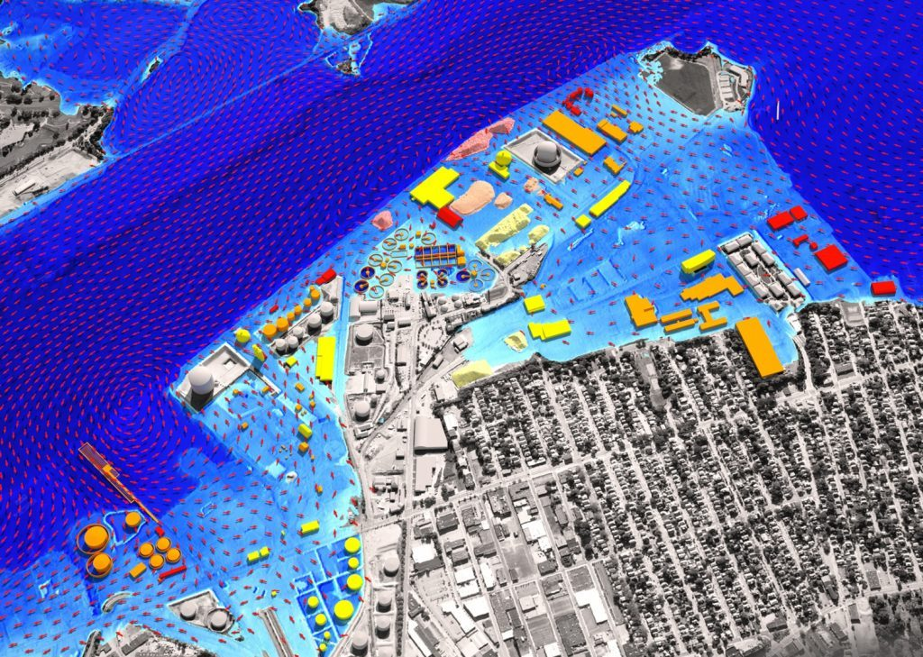 Policy simulations include visualization of commercial port properties impacted by potential sea-level rise. Illustration by Dr. Peter Stempel and Dr. Austin Becker.
