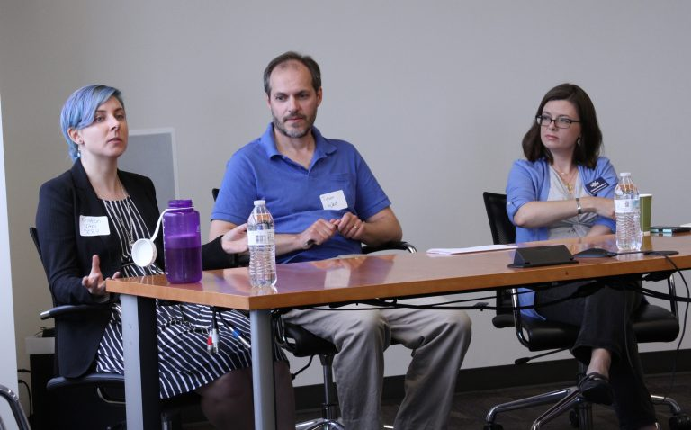 From left: UNC-Chapel Hill graduate student Kristen Vitro, UNC-Chapel Hill Professor Dr. Jason West and N.C. Sea Grant Coastal Communities Hazards Adaptation Specialist Jessica Whitehead discussed the role of the political climate on research during the event.