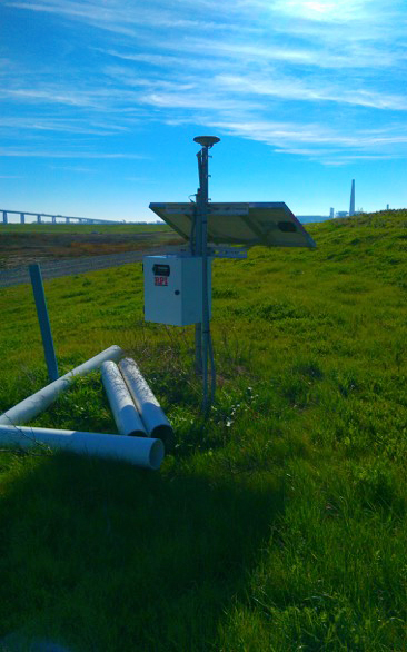 One of the in situ measuring stations is shown at the Sherman Island levee in California.