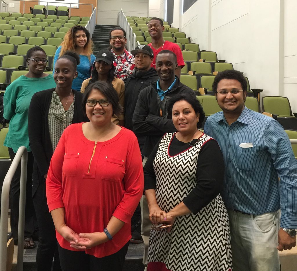 Dr. Wie Yusuf (in red, front row), a co-PI from a CRC research program at Old Dominion University, poses with Johnson C. Smith students who are part of PI Dr. Hang Chen's CRC education program after her RETALK presentation in 2016.