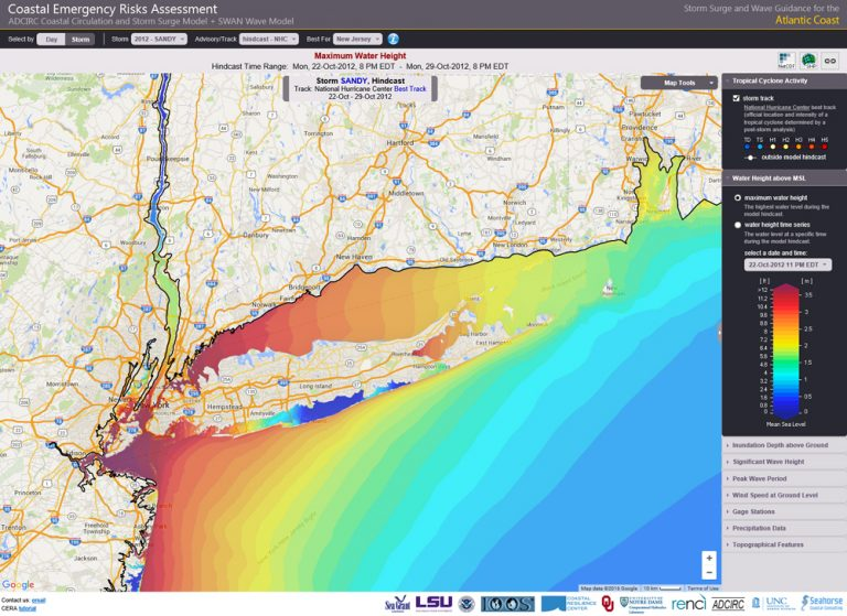 The Coastal Emergency Risks Assessment website visualizes an ADCIRC hindcast of Hurricane Sandy (2012) storm surge in the New York City metropolitan area.