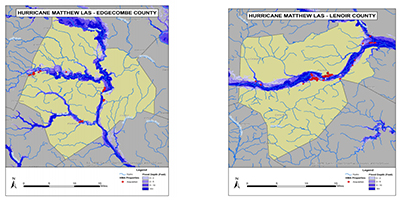 Properties in the floodplain acquired via federal buyouts are shown in red for Edgecombe and Lenoir counties in eastern North Carolina.