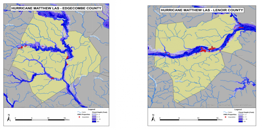 Properties in the floodplain acquired via federal buyouts are shown in red for Edgecombe and Lenoir counties in eastern North Caroilina.