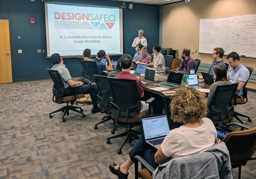 Clint Dawson of the University of Texas-Austin instructs a group on the basics of ADCIRC modeling during Texas ADCIRC Week. Photo by Jason Fleming.