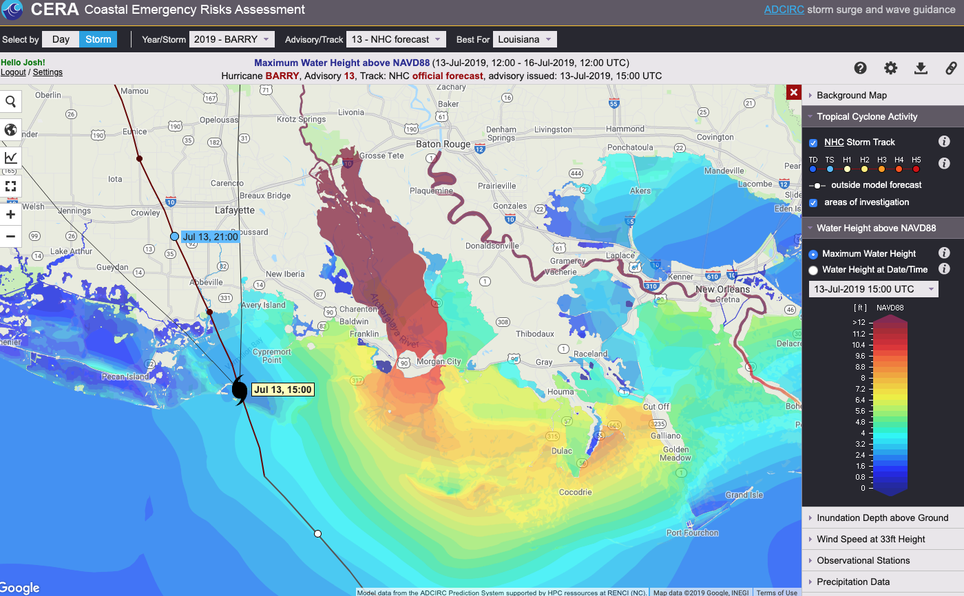 Storm surge projection for the path of Hurricane Barry