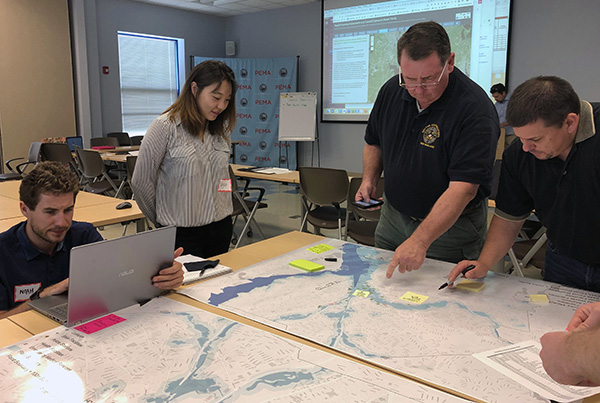 The CRC's Rhode Island-based modeling team collaborates on unique aspects of storm modeling, bringing together stakeholders from local and state government, the private sector and academic institutions to advance tools for emergency managers to respond to real-time storm and impact modeling.