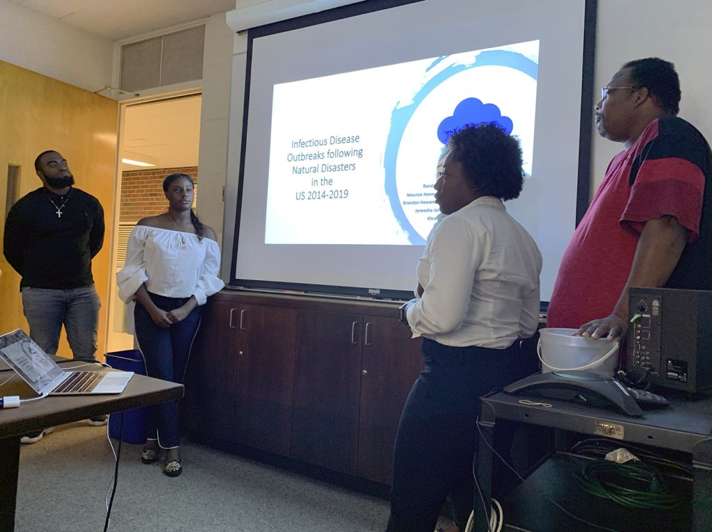 Johnson C. Smith students presented information on their research projects during a day-long exchange at North Carolina State University. Photo submitted.