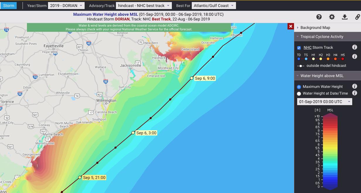 maximum water height from Hurricane Dorian