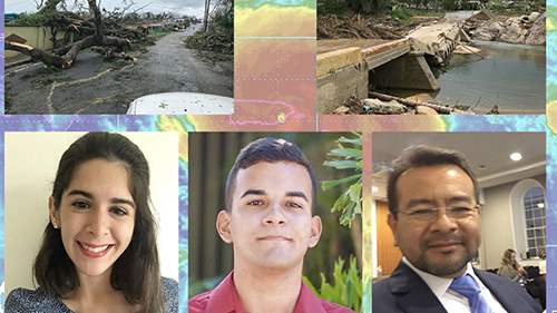 The UPRM team, which includes (left to right) students Verónica Díaz-Pacheco, Frederick González-Román and project lead Dr. Mauricio Cabrera-Ríos. Photo illustration by Frederick González-Román.