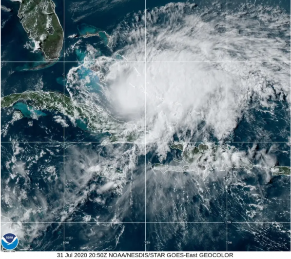 Satellite imagery of Hurricane Isaias shows it blowing through the Bahamas en route to Florida's southeastern coast. Image via NOAA/NESDIS/STAR GOES-East.