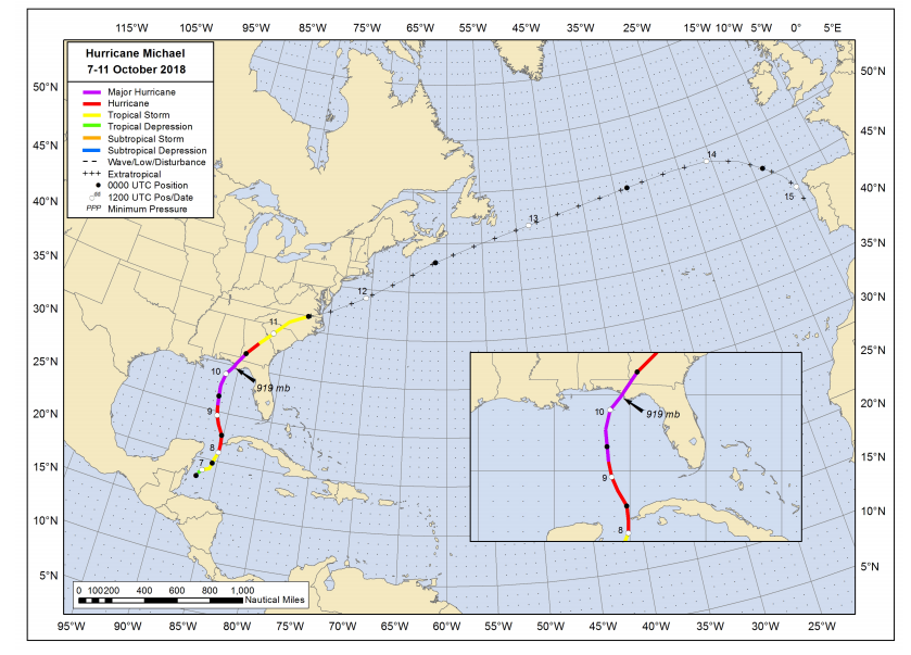Hurricane Michaels approximate path, from a National Hurricane Center report.
