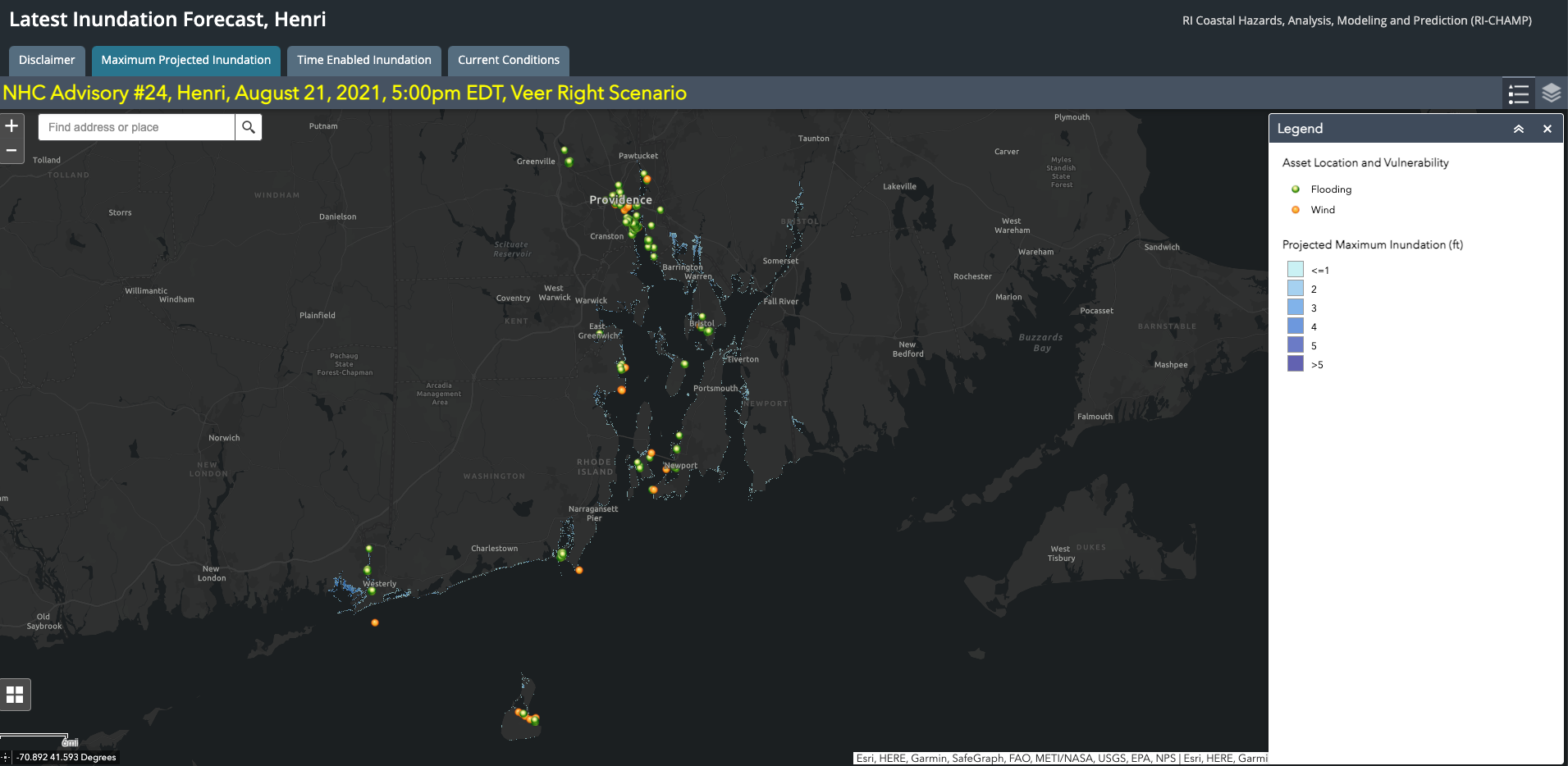Picture of online digital map of Southern New England
